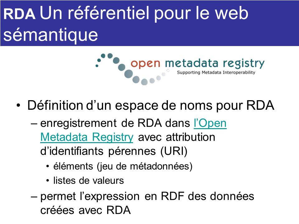 RDA Un référentiel pour le web sémantique