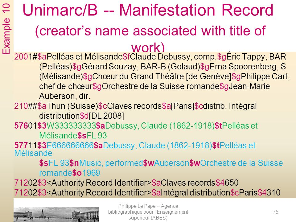 Unimarc/B -- Manifestation Record (creator's name associated with title of work)