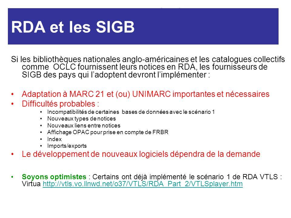 RDA et SIGB RDA et les SIGB