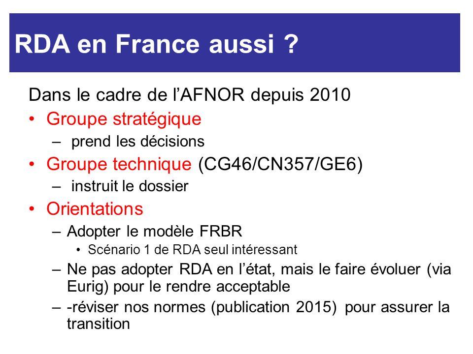 RDA et nous RDA en France aussi Dans le cadre de l'AFNOR depuis 2010