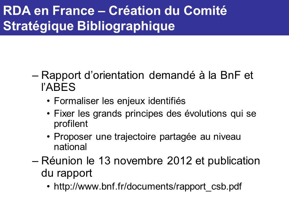RDA en France – Création du Comité Stratégique Bibliographique