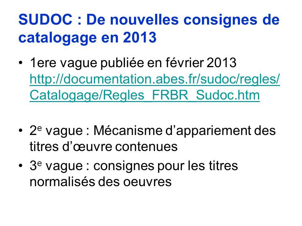 SUDOC : De nouvelles consignes de catalogage en 2013