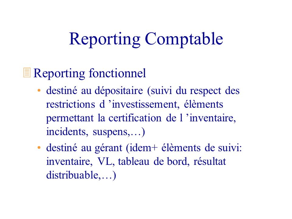 Reporting Comptable Reporting fonctionnel