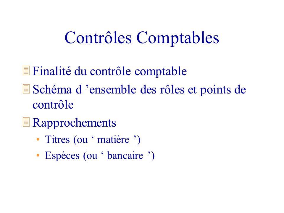 Contrôles Comptables Finalité du contrôle comptable