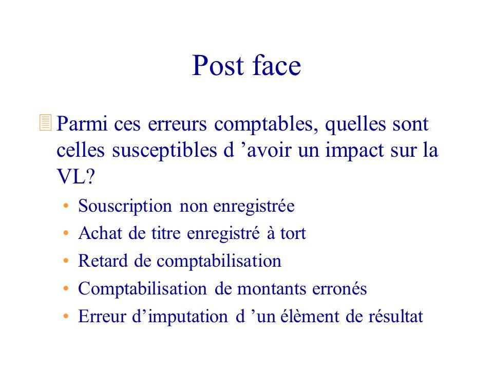 Post face Parmi ces erreurs comptables, quelles sont celles susceptibles d 'avoir un impact sur la VL