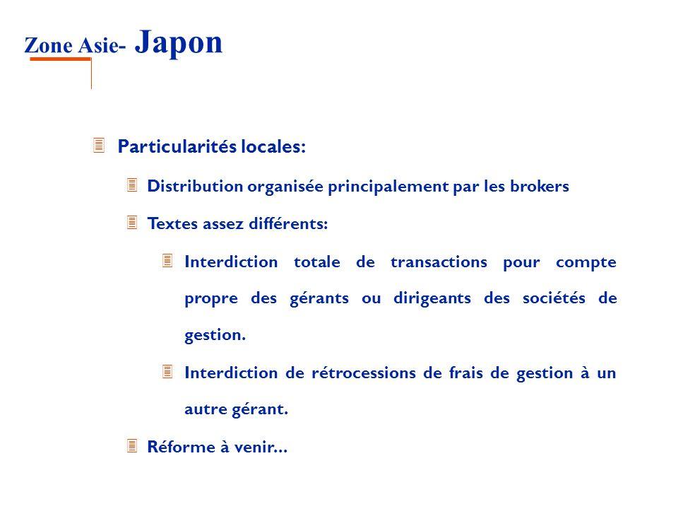 Zone Asie- Japon Particularités locales: