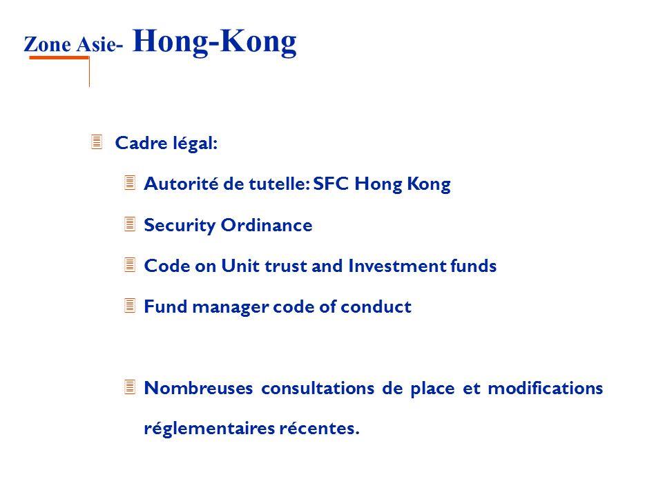 Zone Asie- Hong-Kong Cadre légal: Autorité de tutelle: SFC Hong Kong