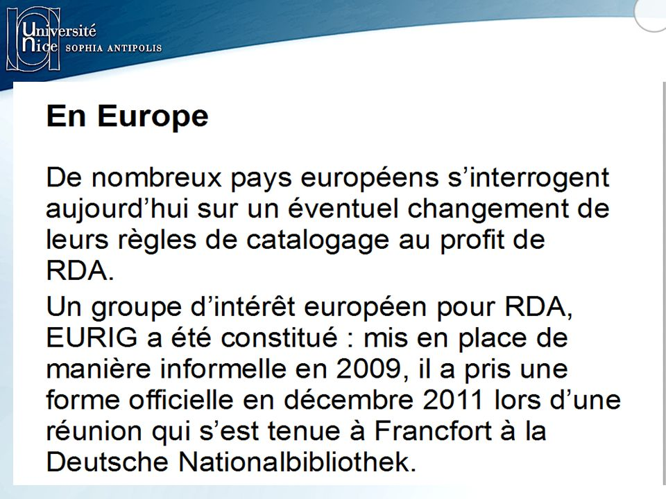 EURIG : European RDA Interest Group