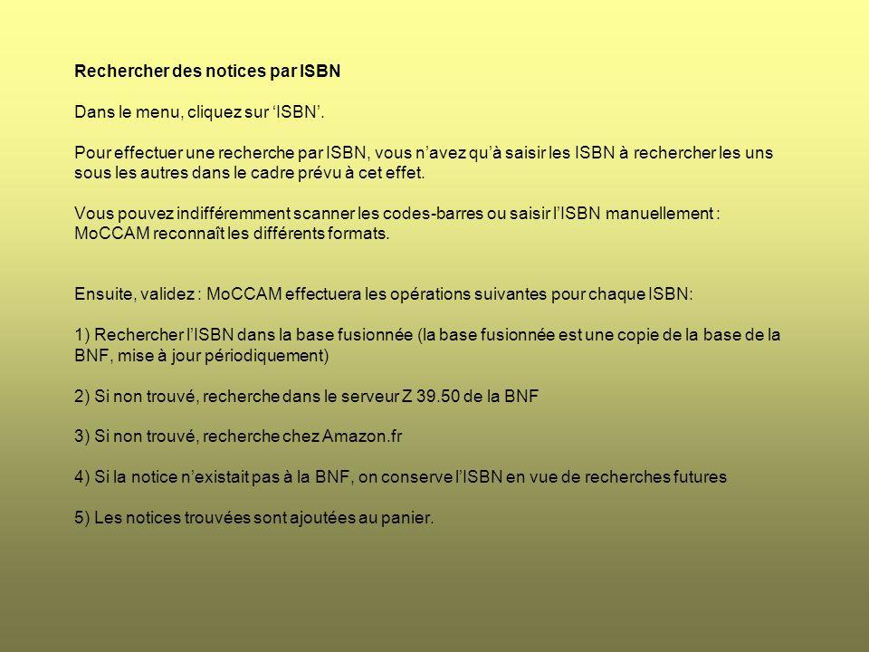Rechercher des notices par ISBN Dans le menu, cliquez sur 'ISBN'