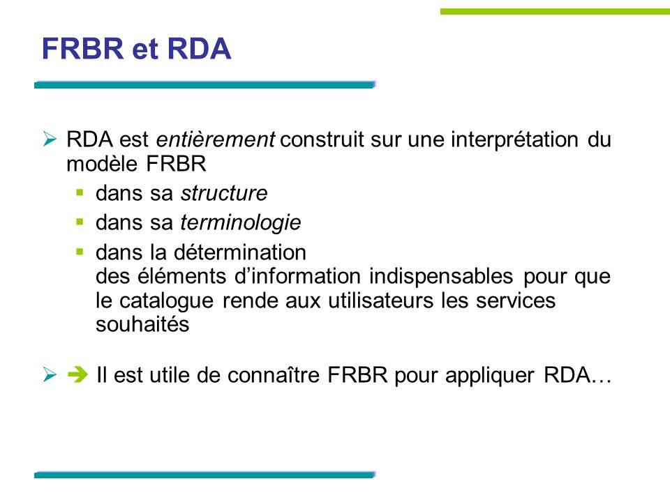 FRBR et RDA RDA est entièrement construit sur une interprétation du modèle FRBR. dans sa structure.
