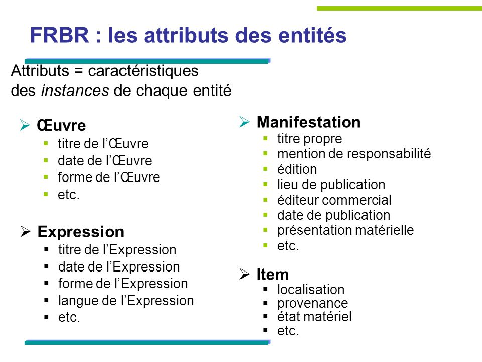 FRBR : les attributs des entités