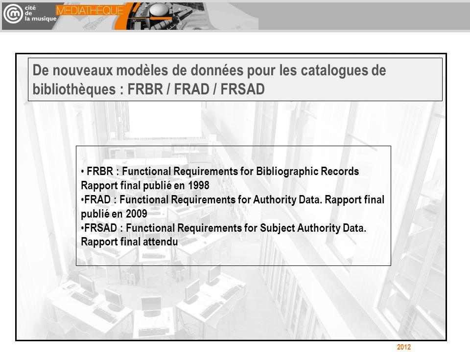 De nouveaux modèles de données pour les catalogues de bibliothèques : FRBR / FRAD / FRSAD