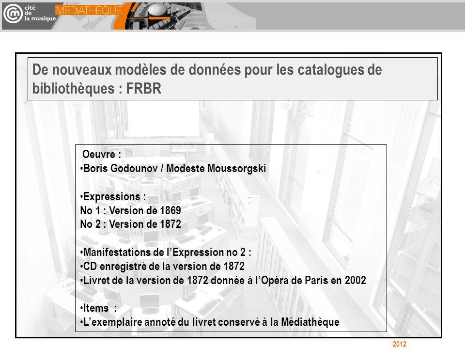 De nouveaux modèles de données pour les catalogues de bibliothèques : FRBR