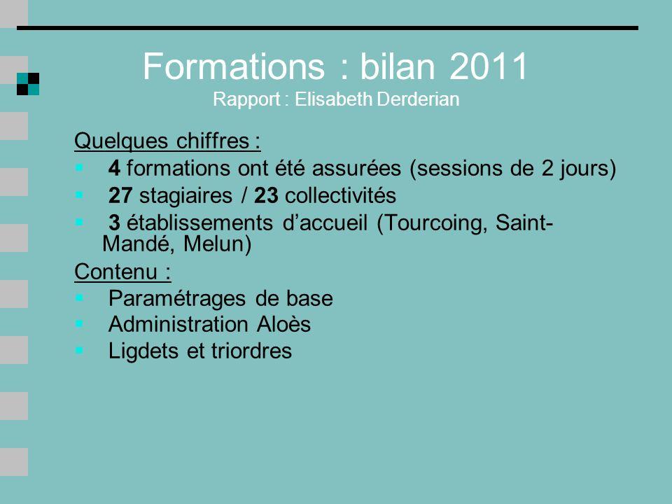 Formations : bilan 2011 Rapport : Elisabeth Derderian