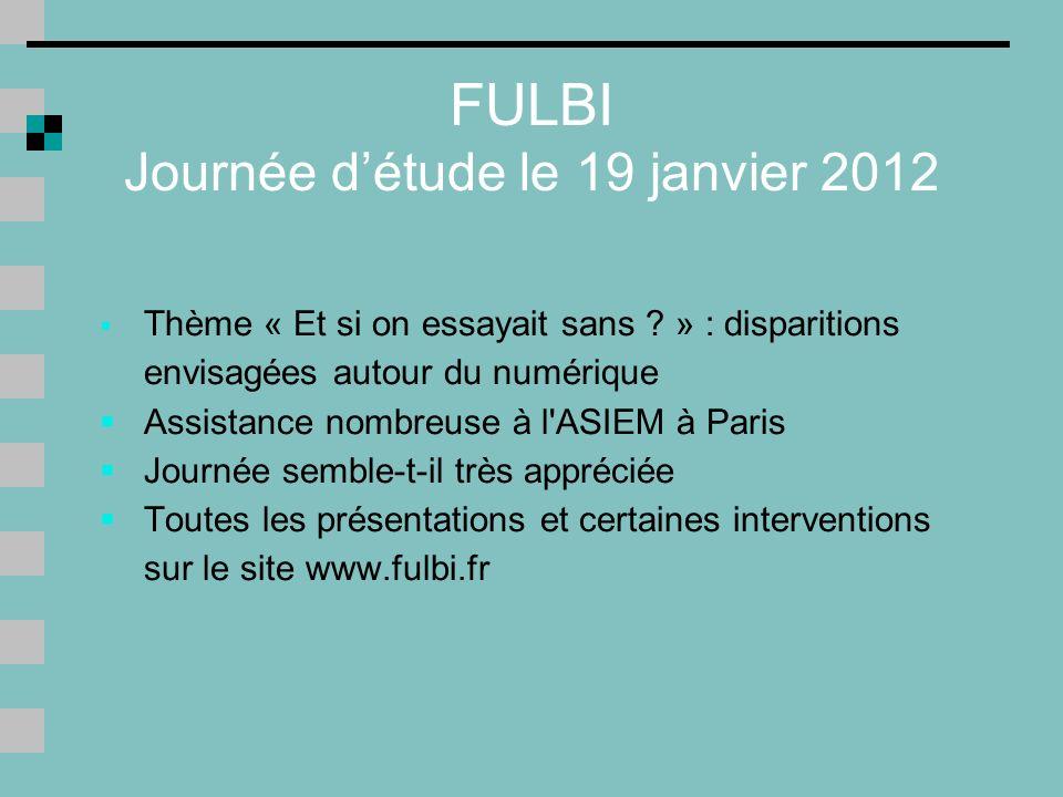 FULBI Journée d'étude le 19 janvier 2012