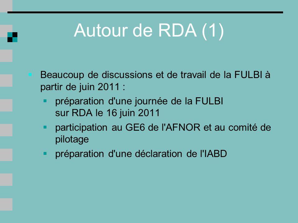 Autour de RDA (1) Beaucoup de discussions et de travail de la FULBI à partir de juin 2011 :