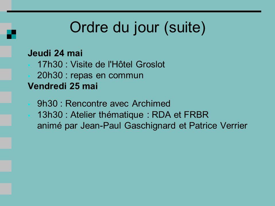 Ordre du jour (suite) Jeudi 24 mai 17h30 : Visite de l Hôtel Groslot
