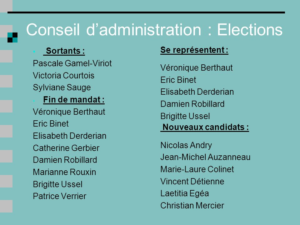 Conseil d'administration : Elections