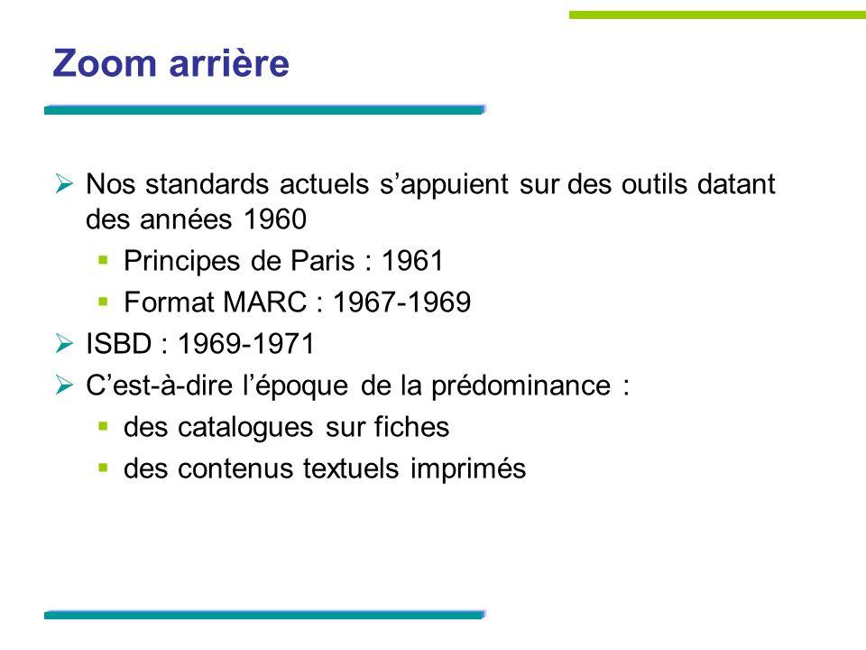 Zoom arrière Nos standards actuels s'appuient sur des outils datant des années 1960. Principes de Paris : 1961.
