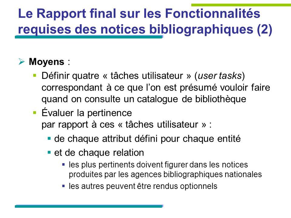Le Rapport final sur les Fonctionnalités requises des notices bibliographiques (2)