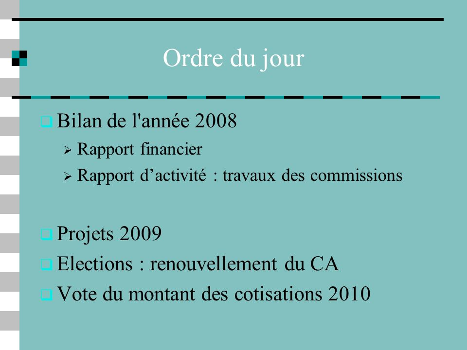 Ordre du jour Bilan de l année 2008 Projets 2009