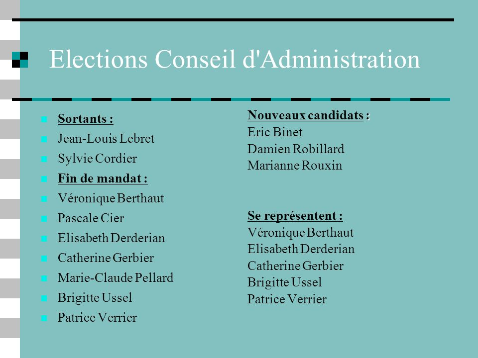 Elections Conseil d Administration