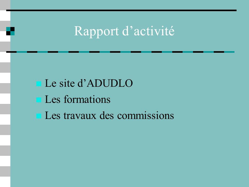 Rapport d'activité Le site d'ADUDLO Les formations