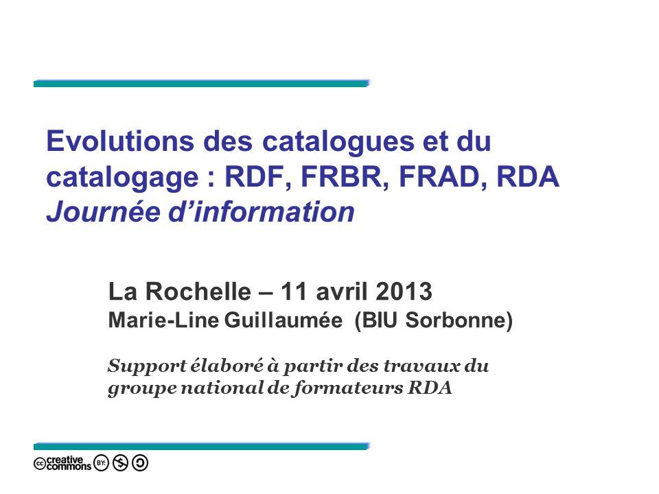 Evolutions des catalogues et du catalogage : RDF, FRBR, FRAD, RDA Journée d'information