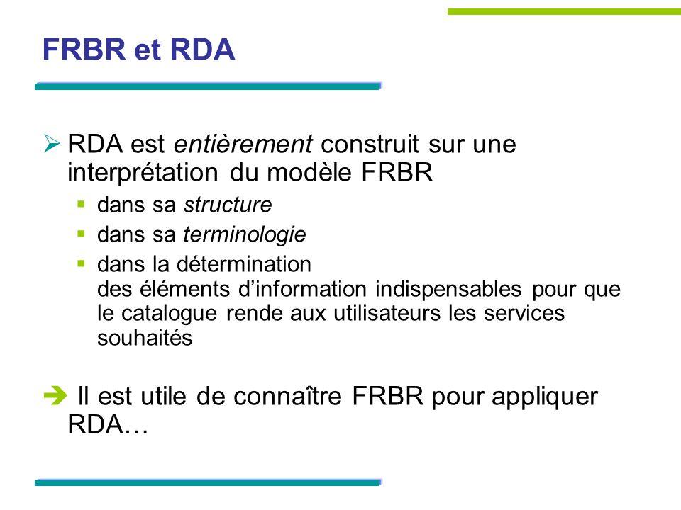 FRBR et RDARDA est entièrement construit sur une interprétation du modèle FRBR. dans sa structure. dans sa terminologie.