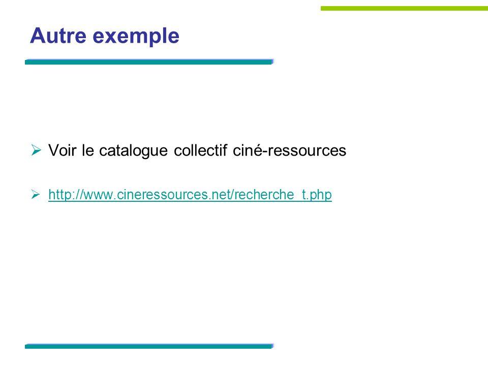 Autre exemple Voir le catalogue collectif ciné-ressources