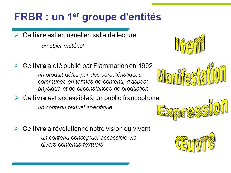 FRBR : un 1er groupe d entités