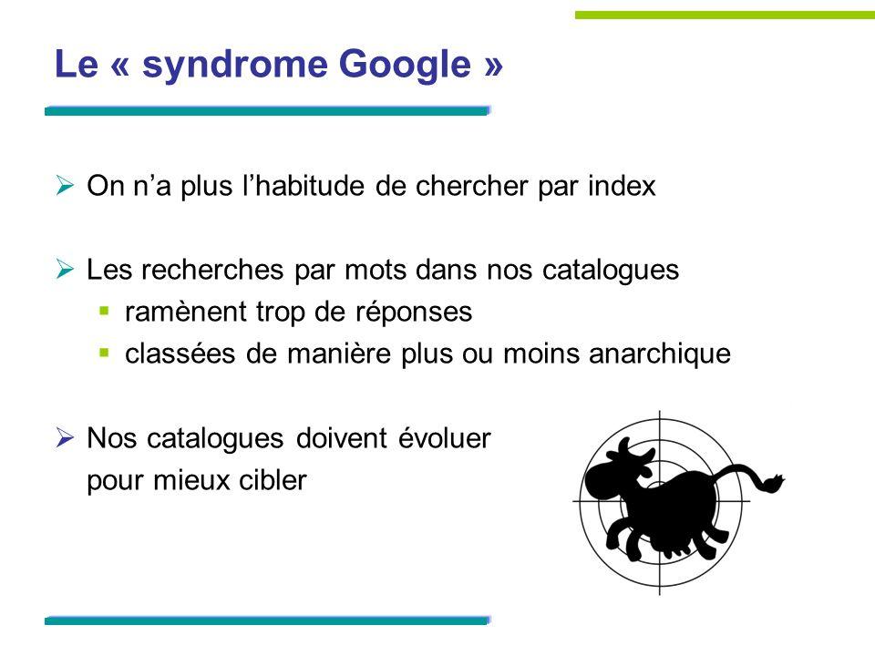 Le « syndrome Google » On n'a plus l'habitude de chercher par index