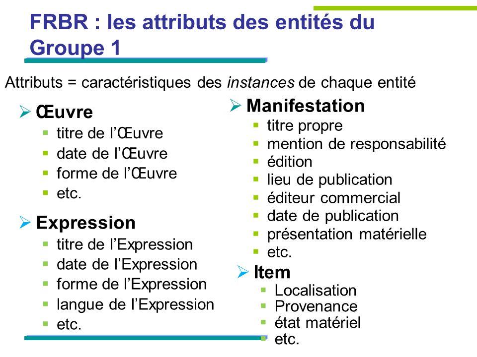 FRBR : les attributs des entités du Groupe 1