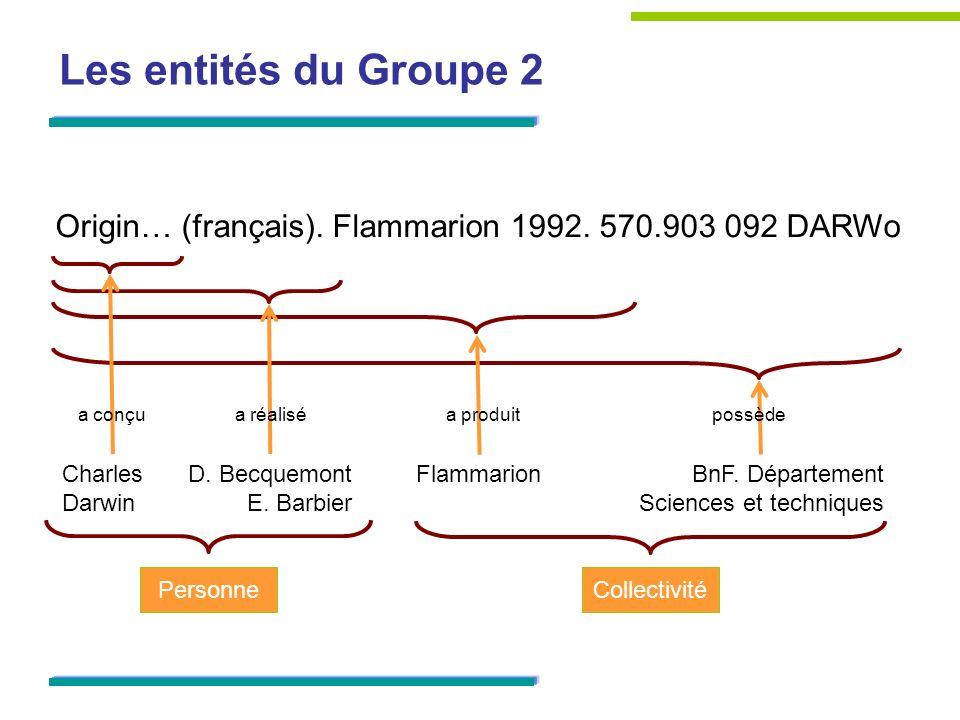 Les entités du Groupe 2Origin… (français). Flammarion 1992. 570.903 092 DARWo. a conçu. a réalisé. a produit.