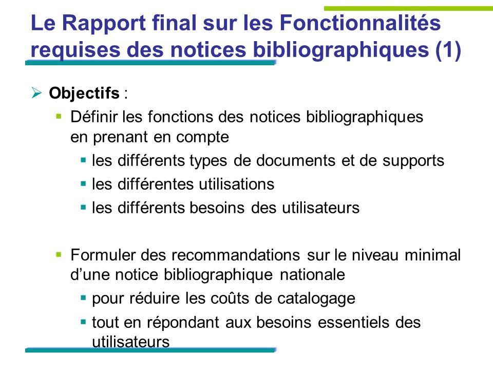 Le Rapport final sur les Fonctionnalités requises des notices bibliographiques (1)