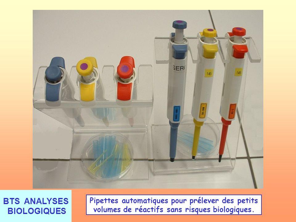 Pipettes automatiques pour prélever des petits volumes de réactifs sans risques biologiques.