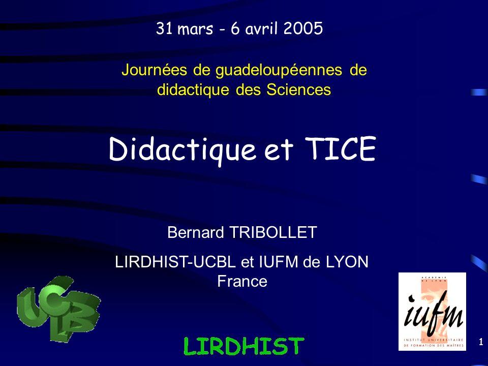 Didactique et TICE 31 mars - 6 avril 2005