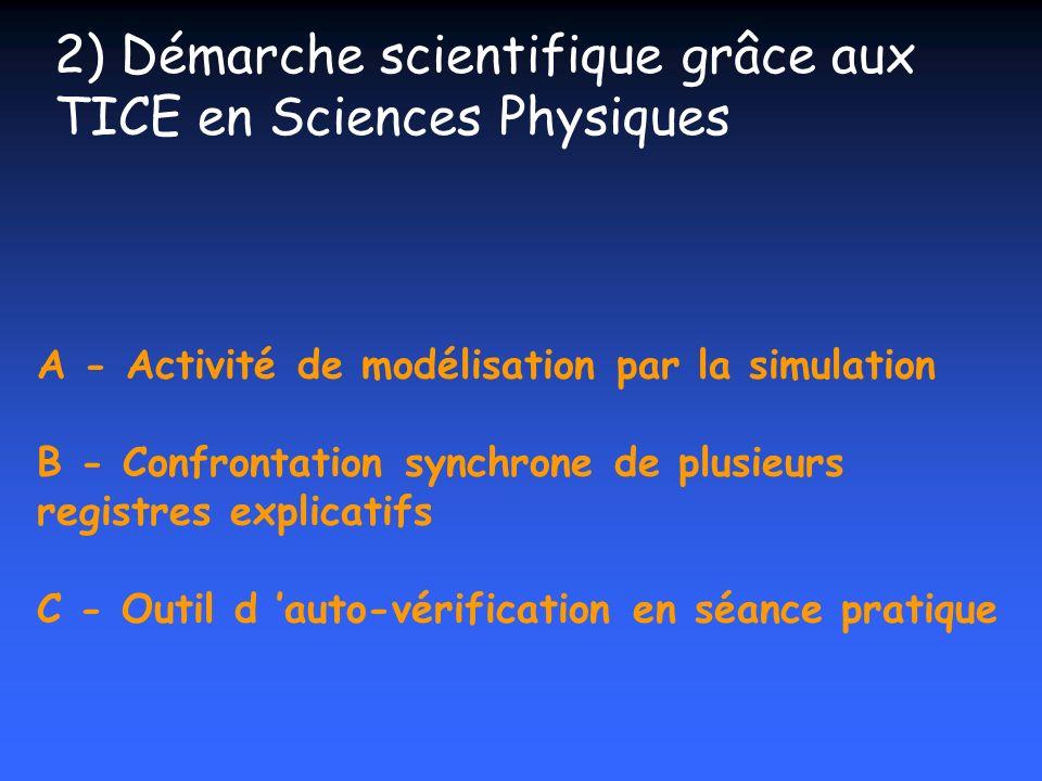 2) Démarche scientifique grâce aux TICE en Sciences Physiques