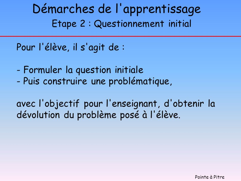 Démarches de l apprentissage