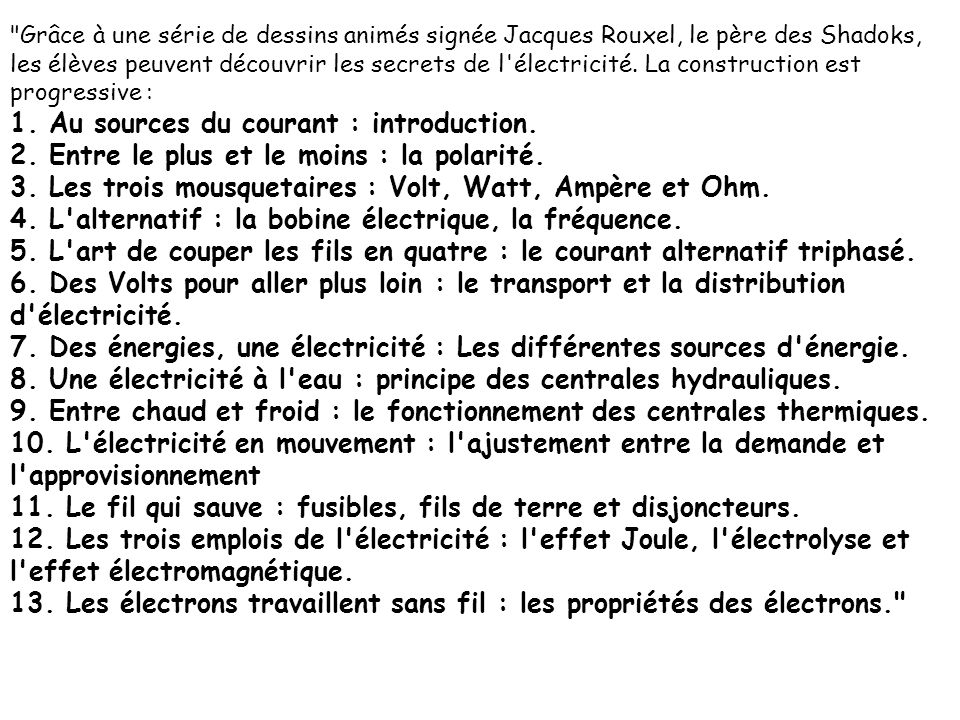 1. Au sources du courant : introduction.