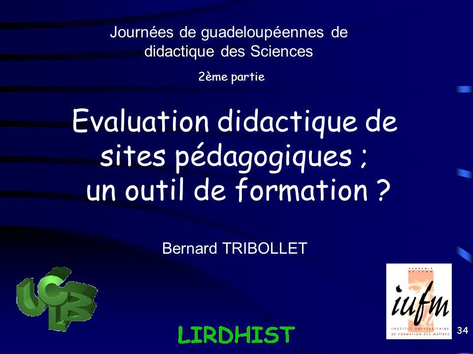 Evaluation didactique de sites pédagogiques ; un outil de formation