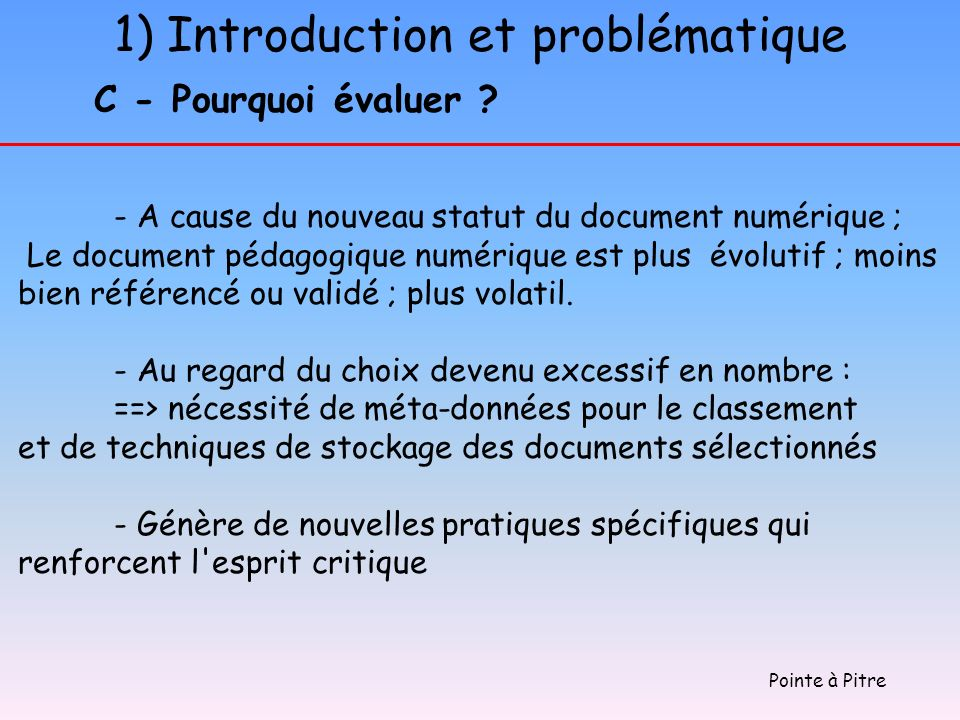 1) Introduction et problématique