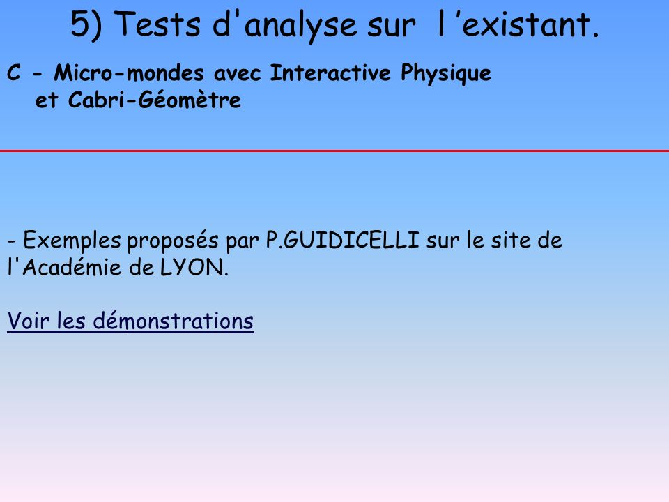 5) Tests d analyse sur l 'existant.