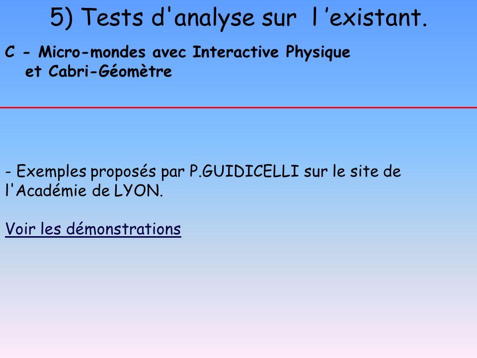 5) Tests d analyse sur l 'existant.