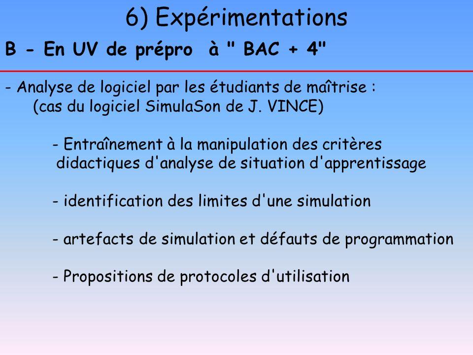 6) Expérimentations B - En UV de prépro à BAC + 4