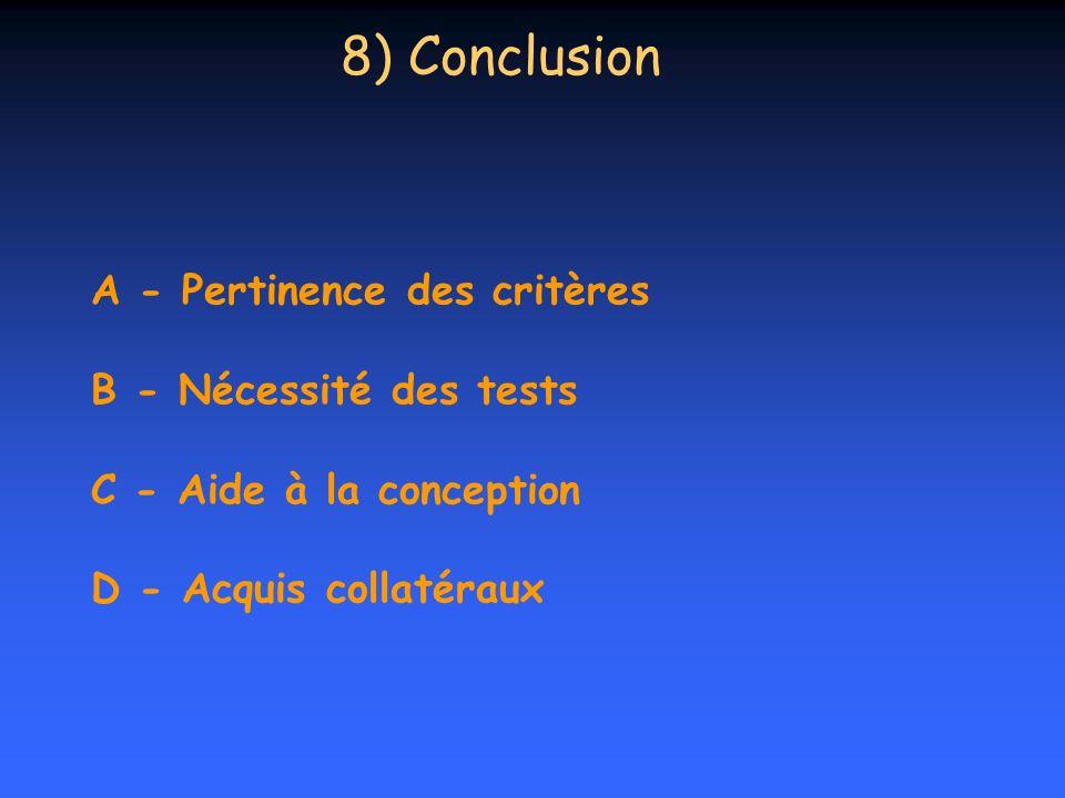 8) Conclusion A - Pertinence des critères B - Nécessité des tests C - Aide à la conception D - Acquis collatéraux.