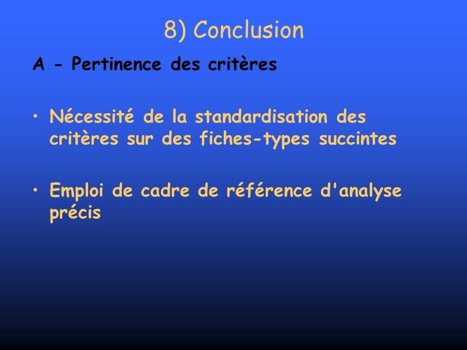 8) Conclusion A - Pertinence des critères