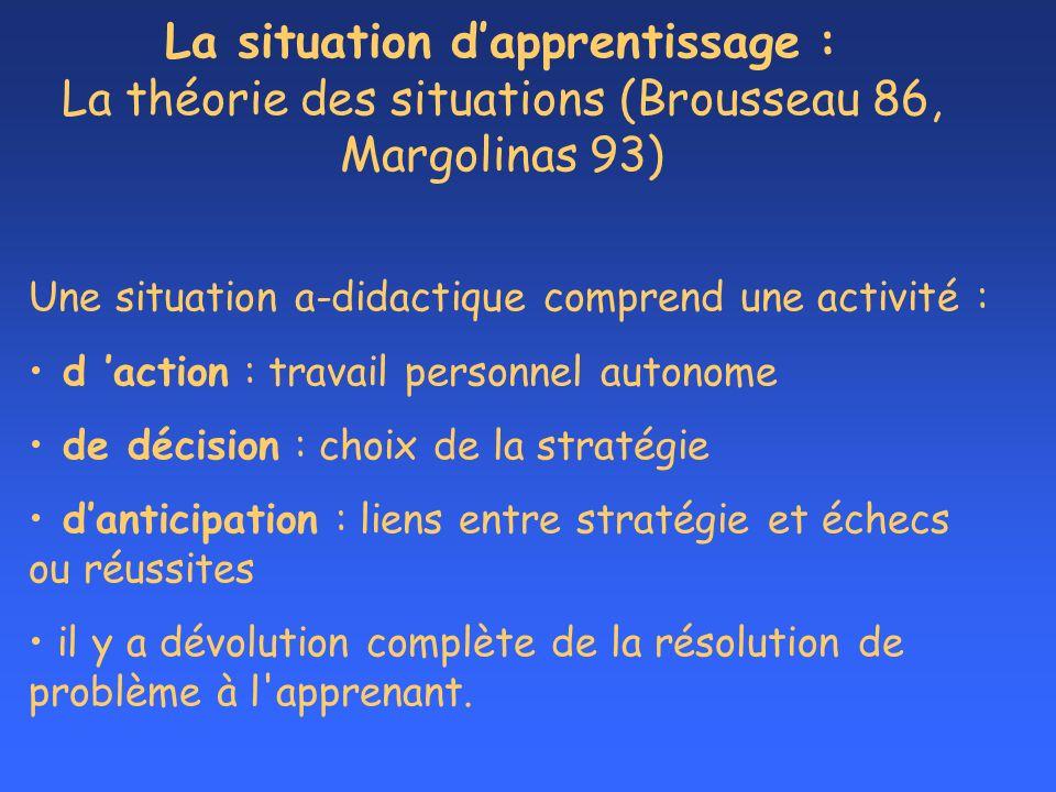 La situation d'apprentissage : La théorie des situations (Brousseau 86, Margolinas 93)