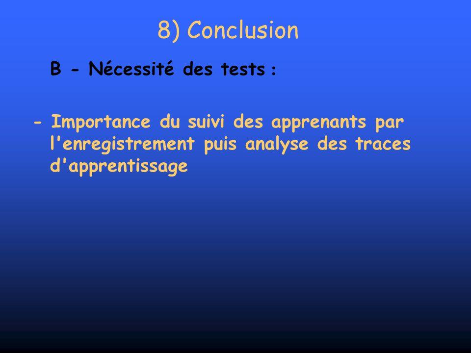 8) Conclusion B - Nécessité des tests :