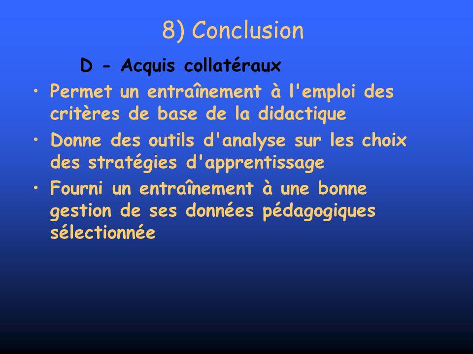8) Conclusion D - Acquis collatéraux